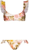 Zimmermann Bonita ruffled floral-print bikini set