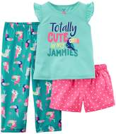 "Carter's Girls 4-14 Totally Cute in my Jammies"" Top, Bottoms & Shorts Pajama Set"