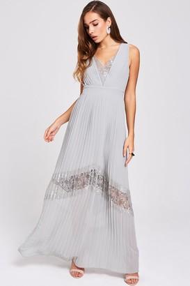 Little Mistress Lissa Waterlily Lace-Trim Maxi Dress