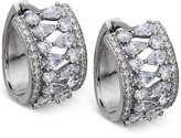 Nina Silver-Tone Cubic Zirconia Hoop Earrings