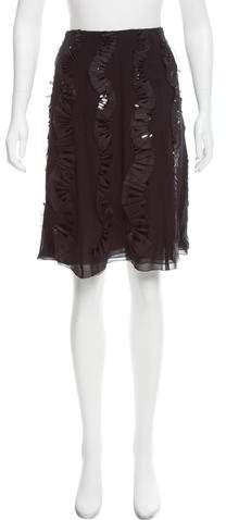Chanel Silk Embellished Skirt