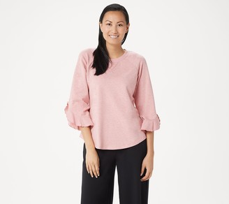 Lisa Rinna Collection Sweatshirt with Flutter Sleeve Detail