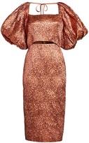Rachel Comey Limbara Metallic Silk-Jacquard Puff-Sleeve Cutout Sheath Dress