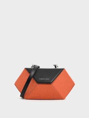 Charles & Keith Demi Chain Handle Patent Hexagon Bag
