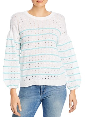 Design History Striped Balloon-Sleeve Sweater