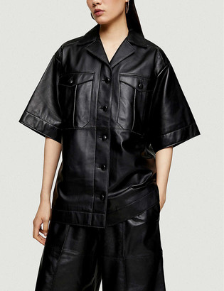 Topshop Boutique short-sleeved leather shirt