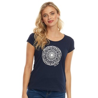 Board Angels Womens Placement Print T-Shirt Navy