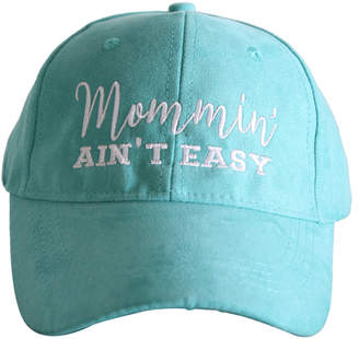 Katydid Collection Women's Baseball Caps - Teal 'Mommin' Ain't Easy' Faux Suede Baseball Cap