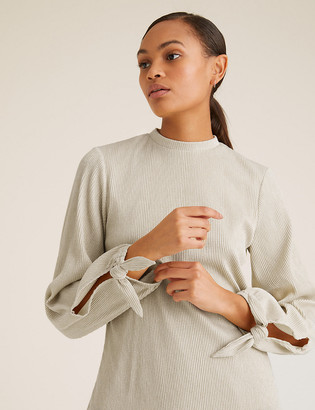 Marks and Spencer Plisse High Neck Long Sleeve Top