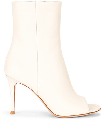 Gianvito Rossi Peep Toe Booties in Off White | FWRD