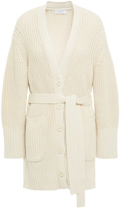 Equipment Belted Ribbed Cotton-blend Cardigan