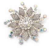 Avalaya Large Bridal Swarovski Crystal Flower Brooch In Rhodium Plated Metal