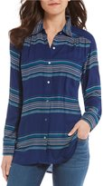 Intro Petites Long Sleeve Stripe Button Front Shirt