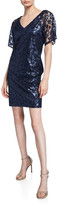 Trina Turk Volcano Floral Sequin Embellished V-Neck Short-Sleeve Sheath Dress