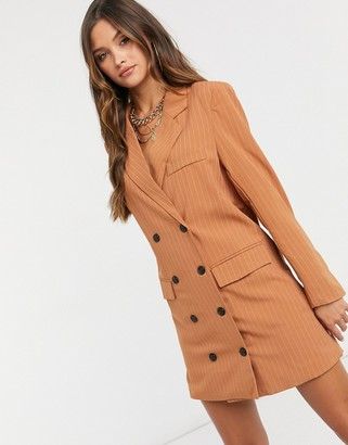 Lioness double breasted blazer dress in tan