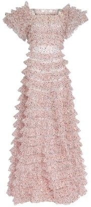 Rodarte Speckled Tulle Tiered Gown