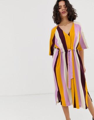 NATIVE YOUTH v neck midi dress with tie waist in bold stripe-Multi