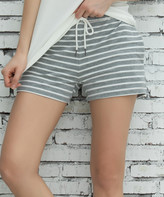 Z Avenue Women's Casual Shorts Light - Light Gray & White Pocket French Terry Shorts - Women & Plus