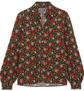 ALEXACHUNG Floral-print Crepe Shirt - Red