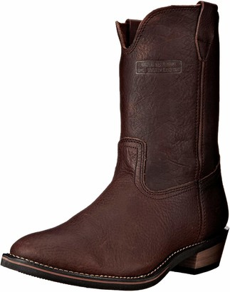 AdTec Ad Tec Mens 12 Inch Ranch Wellington Cowboy Water Resistent Full Grain Leather Boots Steel Toe Slip Resistant Full Grain Brown