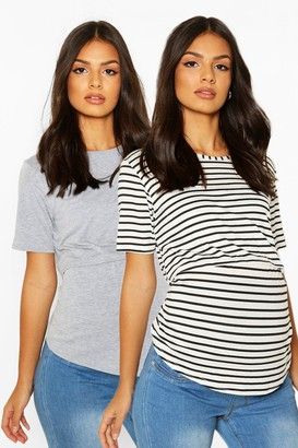 boohoo Maternity 2 Pack Nursing Tee