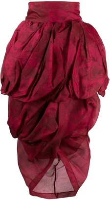 Romeo Gigli Pre-Owned 1990s Printed Draped Knee-Length Skirt