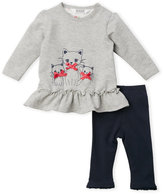 Kanz Newborn/Infant Girls) Two-Piece Kitty Ruffle Trim Tunic & Leggings Set