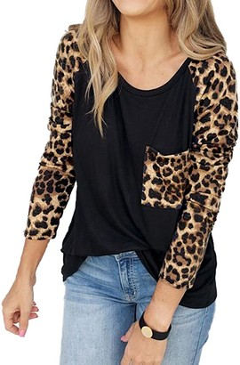 Youdiao Women's Leopard Print Tops Raglan Long Sleeve Pocket Casual Basic Shirts Soft Tunics Top