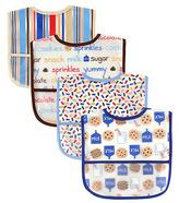 Luvable Friends Blue 'Snack' Water-Resistant Pocket Bib Set
