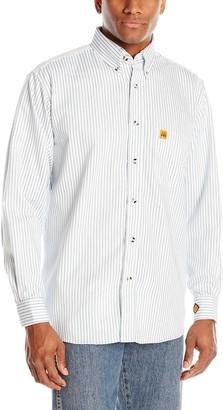 Wrangler Men's Flame Resistant Work Lightweight Navy White Stripe Woven Shirt