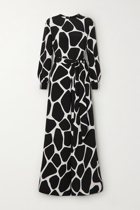 Valentino Belted Printed Silk-crepe Jumpsuit - Black