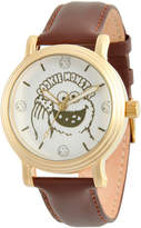 EWatchFactory Gold & Brown Cookie Monster Leather-Strap Watch - Girls