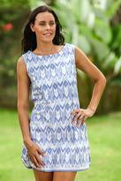 Hand Crafted Geometric Patterned Dress, 'Miki Ikat'