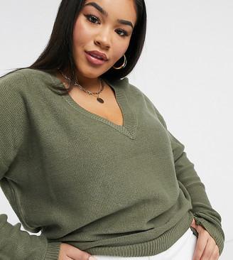 Brave Soul Plus Kansas V-Neck Sweater