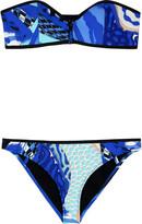 Neoprene printed bandeau bikini