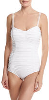 Michael Kors Shirred Solid One-Piece Swimsuit