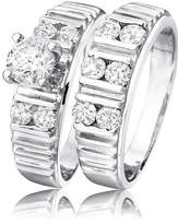 My Trio Rings 1 1/7 Carat T.W. Round Cut Diamond Solitaire Ladies Bridal Ring Set 14K White Gold