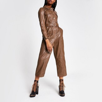 River Island Brown leather belted long sleeve jumpsuit