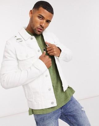 ASOS DESIGN skinny denim jacket in white with rips
