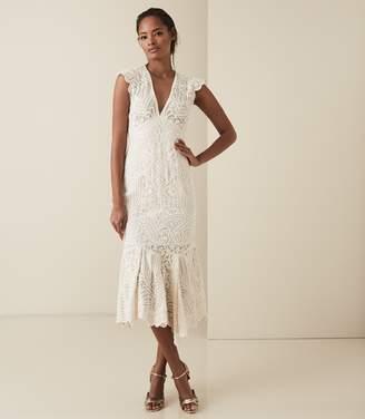 Reiss Anastasia - Lace Overlay Flute Hem Midi Dress in Neutral