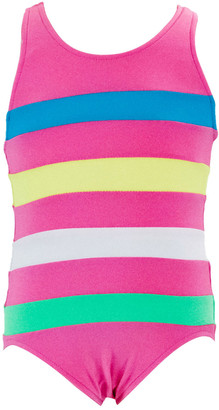 Florence Eiseman Girl's Colorblock Striped One-Piece Swimsuit, Size 4-6X