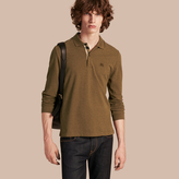 Burberry Check Placket Long Sleeve Polo Shirt