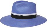 Maison Michel Henrietta Grosgrain-trimmed Straw Fedora - Blue