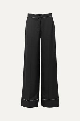 Burberry Crystal-embellished Mulberry Silk-satin Wide-leg Pants - Black