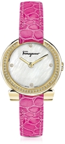 Salvatore Ferragamo Gancino Gold IP Stainless Steel and Diamonds Women's Watch w/Pink Croco Embossed Strap
