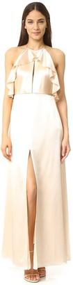Jill Stuart Jill Women's Halter T-Back Front Cutout Gown