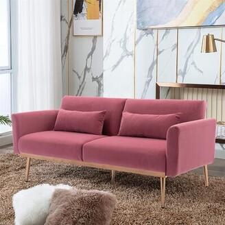Mercer41 Pink Velvet Sofa