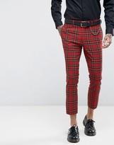 Asos Super Skinny Crop Suit Pants In Plaid