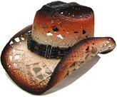 Modestone Women's Straw Cowboy Hat Black