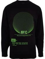 River Island Mens Black 'NYC' green print slouch fit sweatshirt